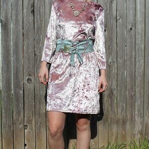 Blush Crushed Velvet Long Sleeve Dress